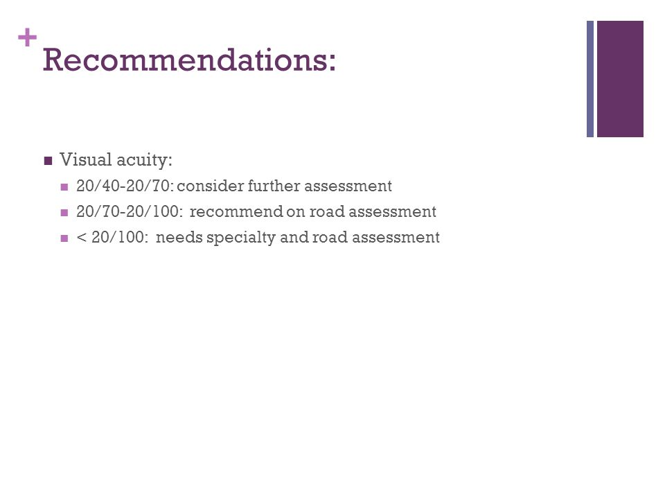 + Recommendations: Visual acuity: 20/40-20/70: consider further assessment 20/70-20/100: recommend on road assessment < 20/100: needs specialty and ro
