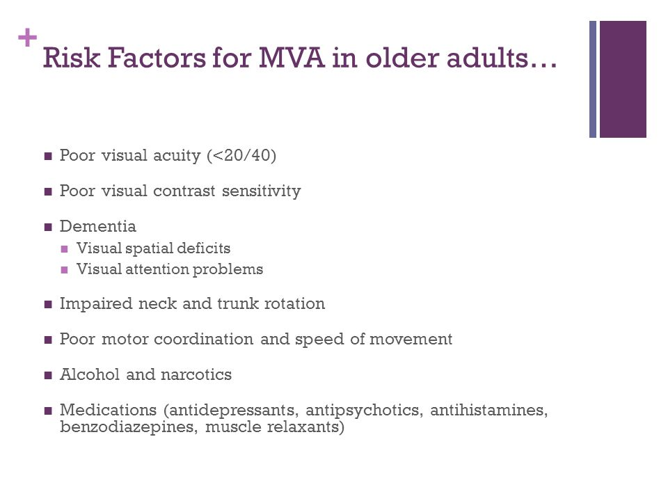 + Risk Factors for MVA in older adults… Poor visual acuity (<20/40) Poor visual contrast sensitivity Dementia Visual spatial deficits Visual attention