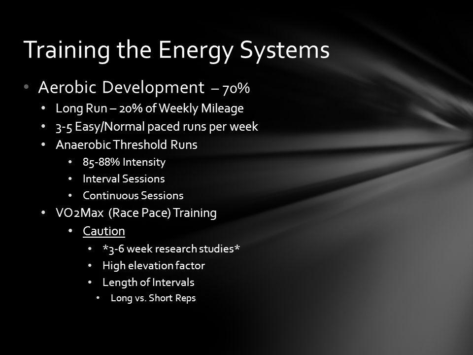 Aerobic Development – 70% Long Run – 20% of Weekly Mileage 3-5 Easy/Normal paced runs per week Anaerobic Threshold Runs 85-88% Intensity Interval Sess