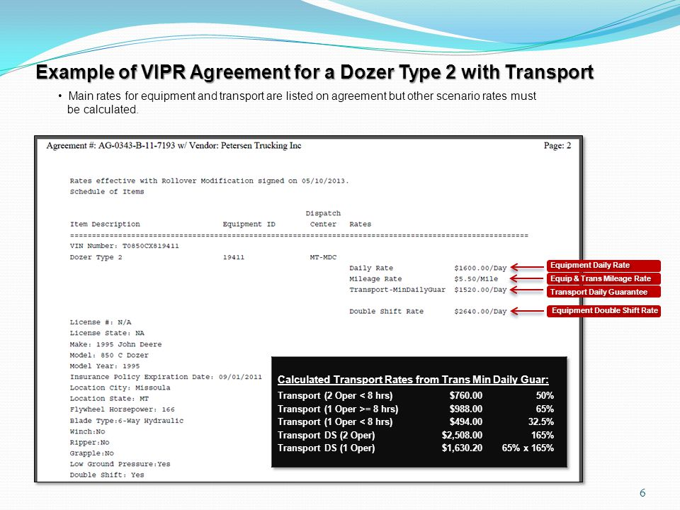 Example of VIPR Agreement for a Dozer Type 2 with Transport Main rates for equipment and transport are listed on agreement but other scenario rates must be calculated.