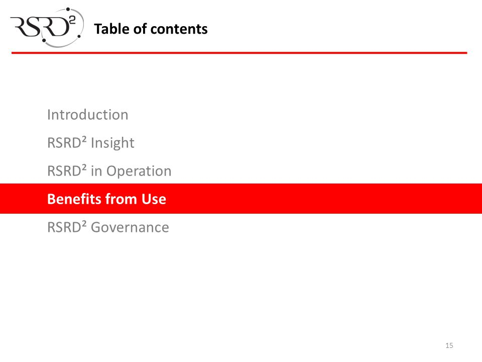 15 Table of contents Introduction RSRD² Insight RSRD² in Operation Benefits from Use RSRD² Governance