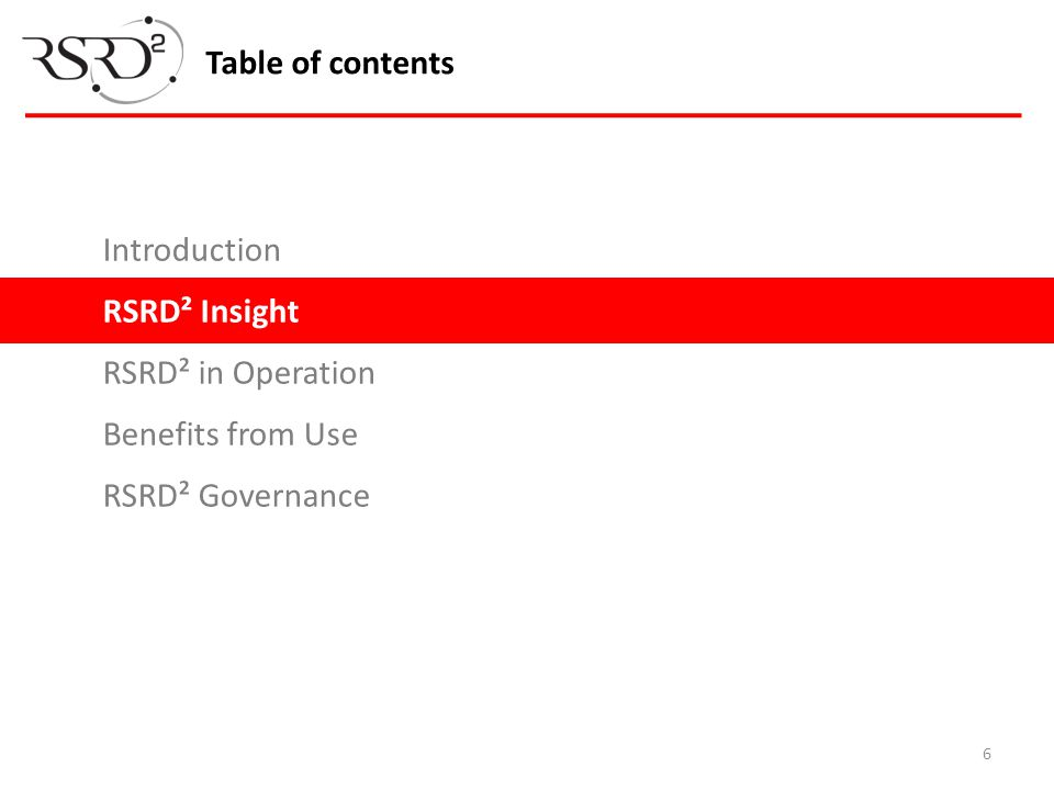 6 Table of contents Introduction RSRD² Insight RSRD² in Operation Benefits from Use RSRD² Governance