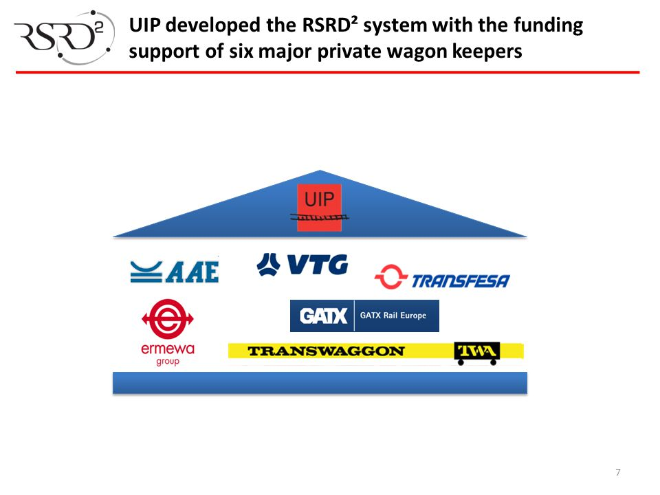 UIP developed the RSRD² system with the funding support of six major private wagon keepers 7