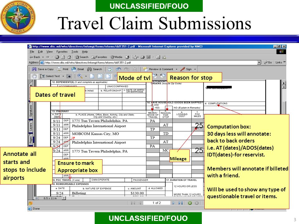 Mode of tvl Reason for stop Annotate all starts and stops to include airports Mileage Computation box: 30 days less will annotate: back to back orders i.e.