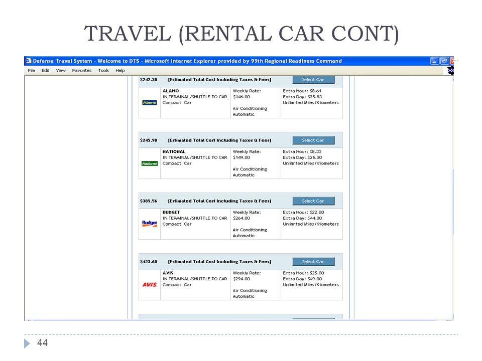 TRAVEL (RENTAL CAR CONT) 44