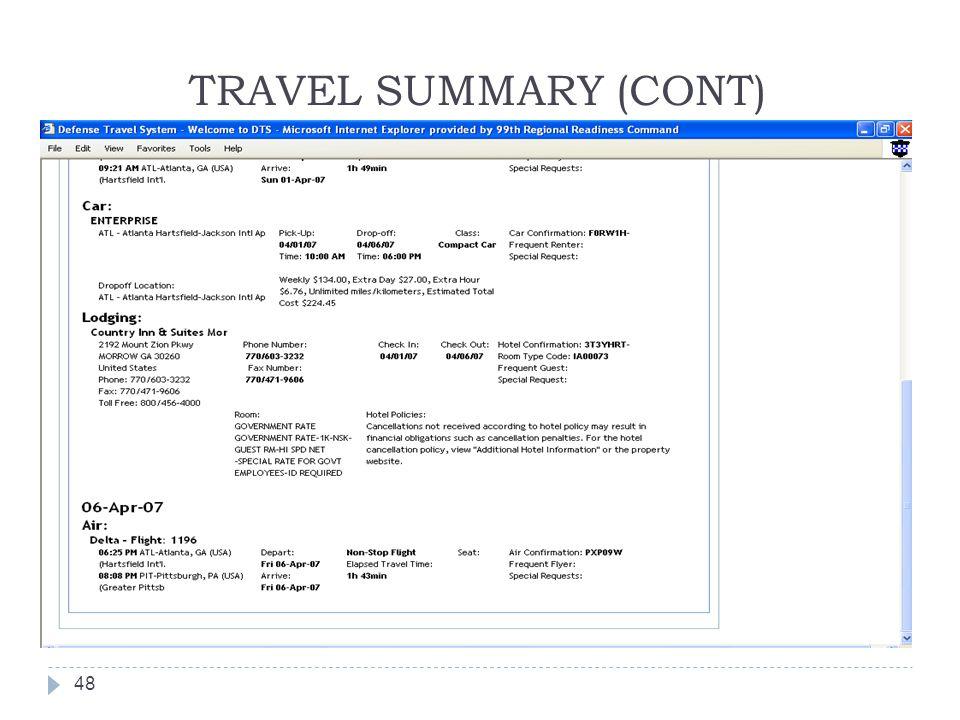 TRAVEL SUMMARY (CONT) 48