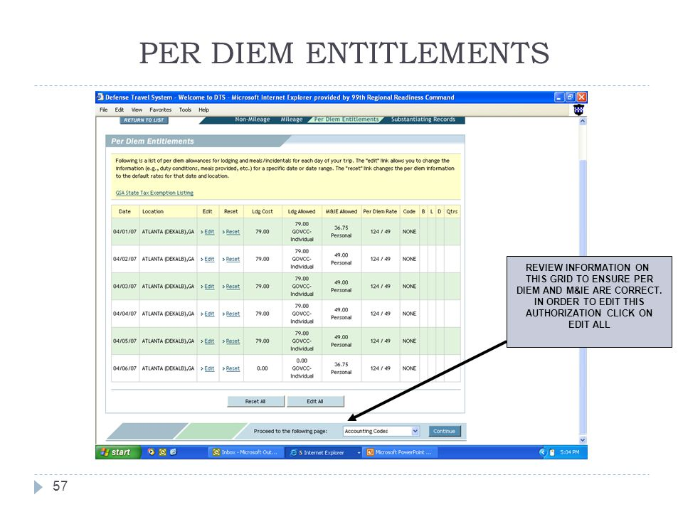 PER DIEM ENTITLEMENTS 57 REVIEW INFORMATION ON THIS GRID TO ENSURE PER DIEM AND M&IE ARE CORRECT. IN ORDER TO EDIT THIS AUTHORIZATION CLICK ON EDIT AL