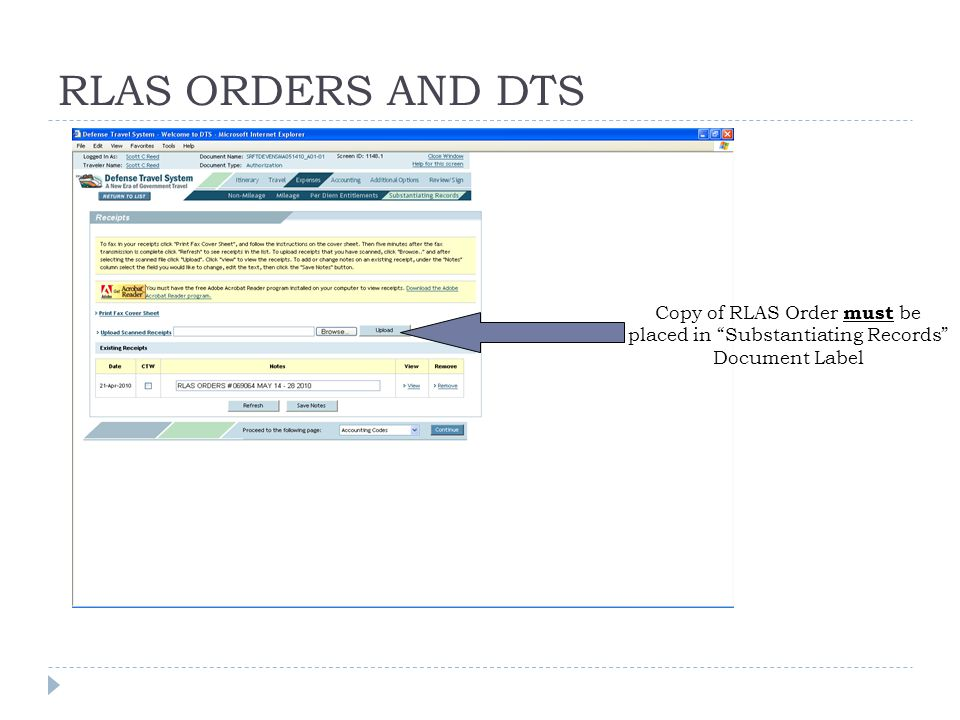 """RLAS ORDERS AND DTS Copy of RLAS Order must be placed in """"Substantiating Records"""" Document Label"""