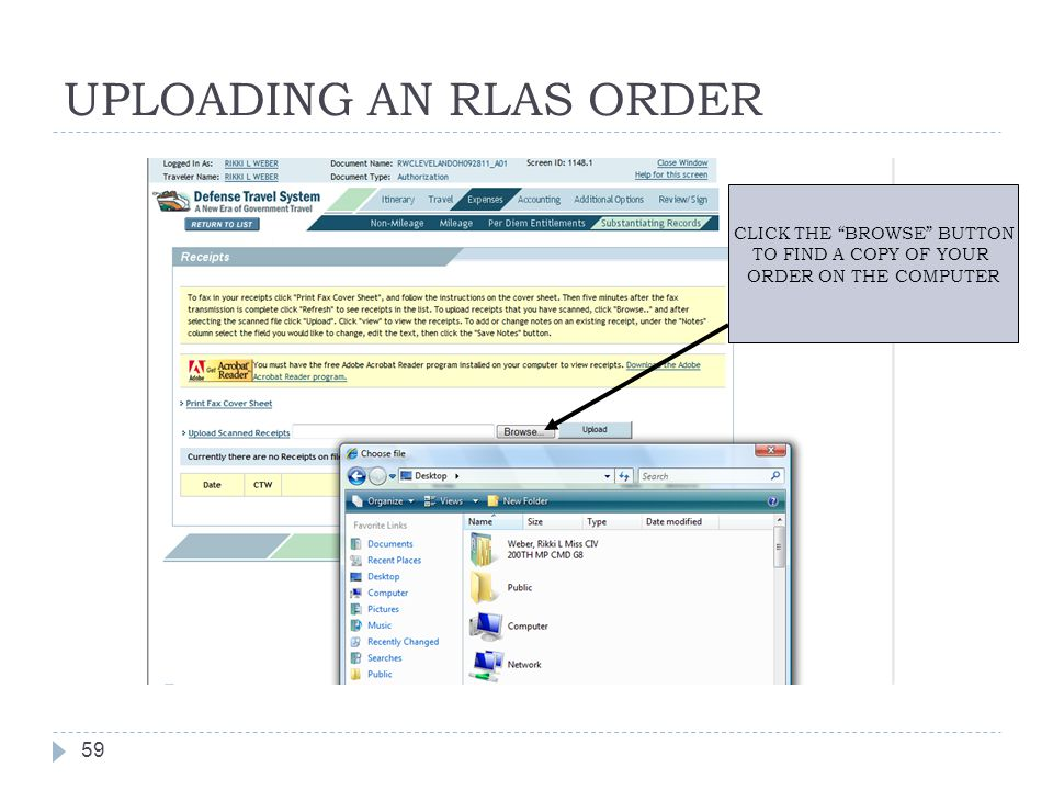 """UPLOADING AN RLAS ORDER 59 CLICK THE """"BROWSE"""" BUTTON TO FIND A COPY OF YOUR ORDER ON THE COMPUTER"""