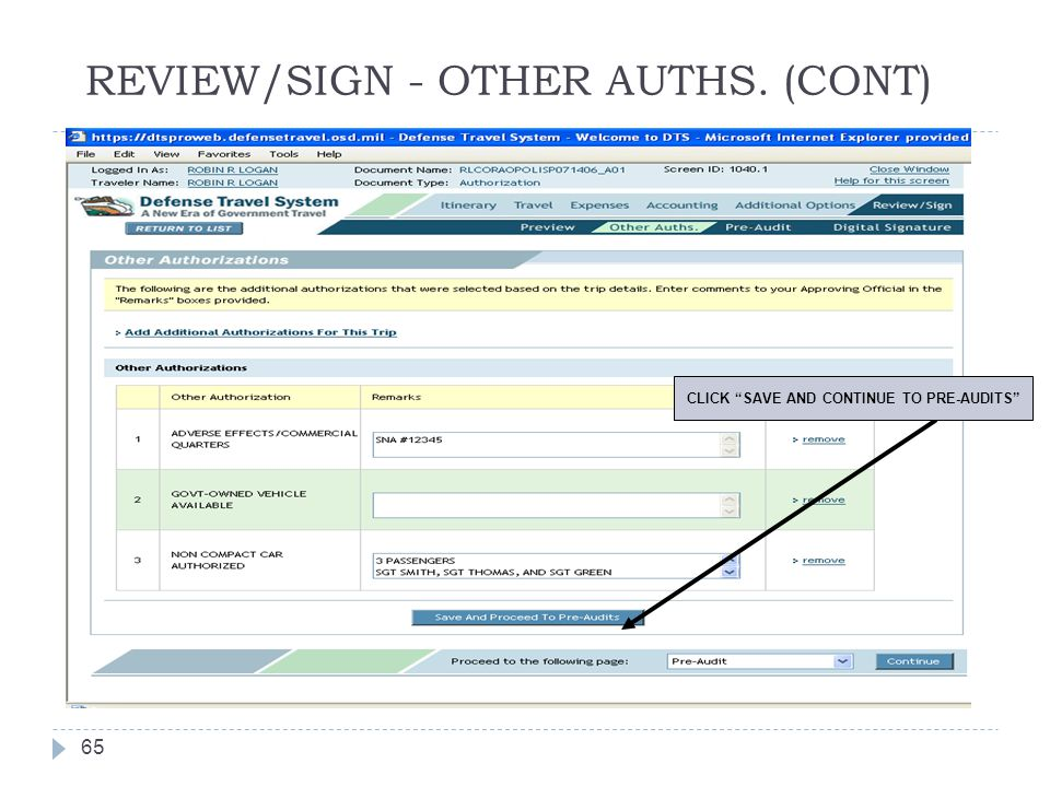 """REVIEW/SIGN - OTHER AUTHS. (CONT) 65 CLICK """"SAVE AND CONTINUE TO PRE-AUDITS"""""""