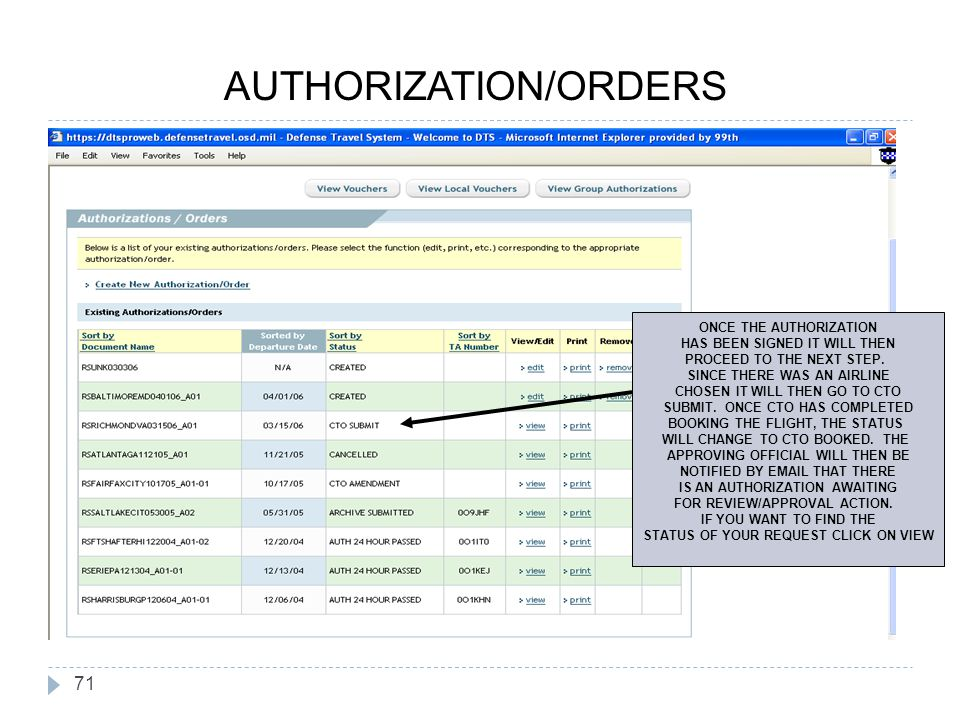 71 ONCE THE AUTHORIZATION HAS BEEN SIGNED IT WILL THEN PROCEED TO THE NEXT STEP. SINCE THERE WAS AN AIRLINE CHOSEN IT WILL THEN GO TO CTO SUBMIT. ONCE