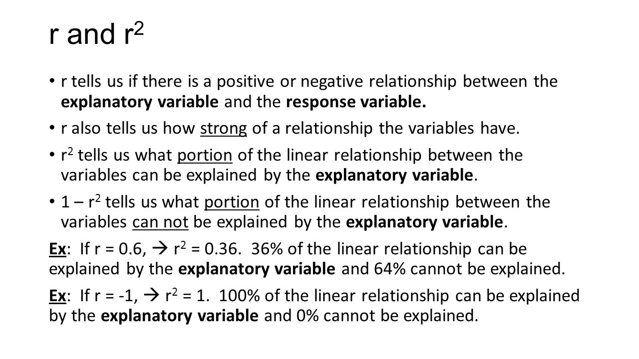 r and r 2 r tells us if there is a positive or negative relationship between the explanatory variable and the response variable. r also tells us how s
