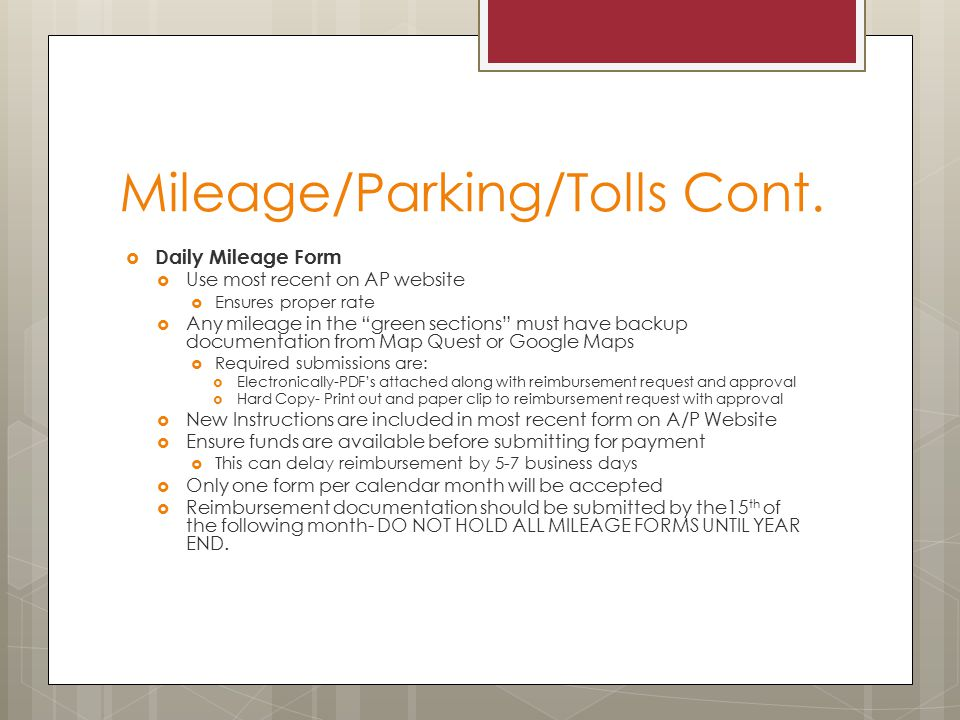 Mileage/Parking/Tolls Cont.