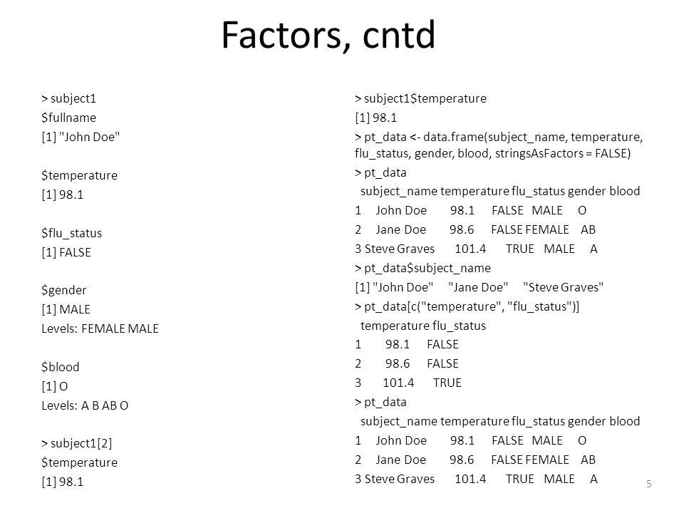 5 Factors, cntd > subject1 $fullname [1] John Doe $temperature [1] 98.1 $flu_status [1] FALSE $gender [1] MALE Levels: FEMALE MALE $blood [1] O Levels: A B AB O > subject1[2] $temperature [1] 98.1 > subject1$temperature [1] 98.1 > pt_data <- data.frame(subject_name, temperature, flu_status, gender, blood, stringsAsFactors = FALSE) > pt_data subject_name temperature flu_status gender blood 1 John Doe 98.1 FALSE MALE O 2 Jane Doe 98.6 FALSE FEMALE AB 3 Steve Graves 101.4 TRUE MALE A > pt_data$subject_name [1] John Doe Jane Doe Steve Graves > pt_data[c( temperature , flu_status )] temperature flu_status 1 98.1 FALSE 2 98.6 FALSE 3 101.4 TRUE > pt_data subject_name temperature flu_status gender blood 1 John Doe 98.1 FALSE MALE O 2 Jane Doe 98.6 FALSE FEMALE AB 3 Steve Graves 101.4 TRUE MALE A