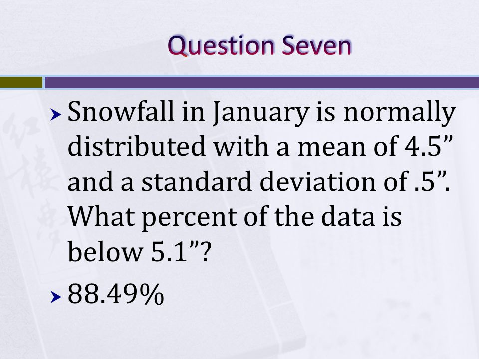  Snowfall in January is normally distributed with a mean of 4.5 and a standard deviation of.5 .
