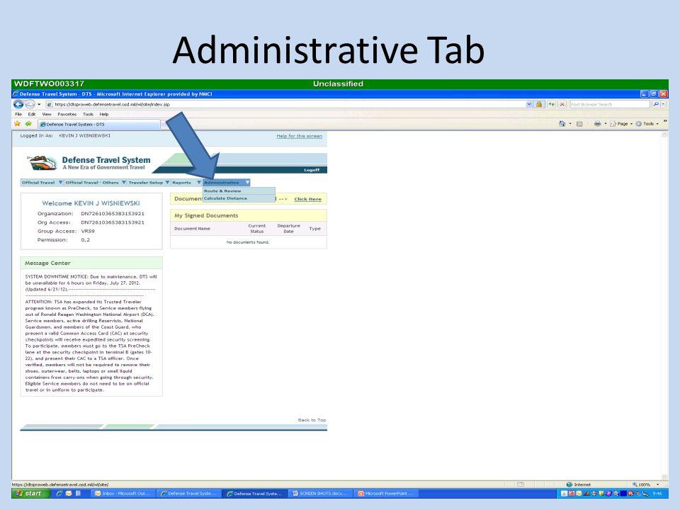 Administrative Tab