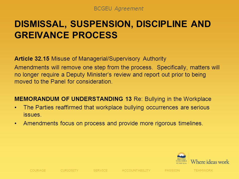 Article 32.15 Misuse of Managerial/Supervisory Authority Amendments will remove one step from the process.