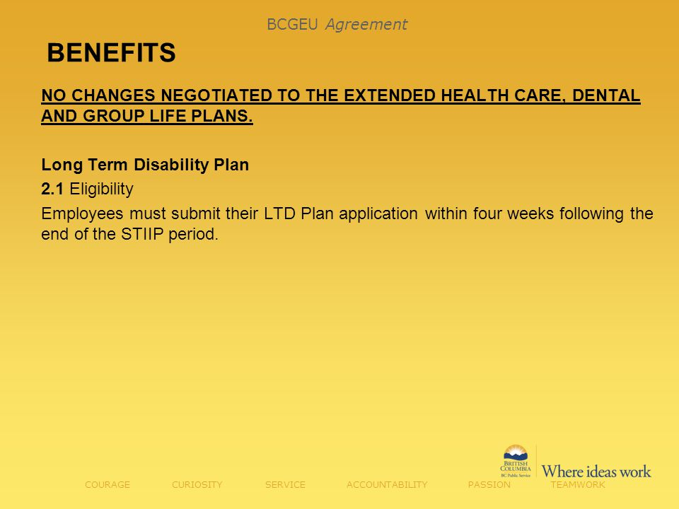 BENEFITS NO CHANGES NEGOTIATED TO THE EXTENDED HEALTH CARE, DENTAL AND GROUP LIFE PLANS.