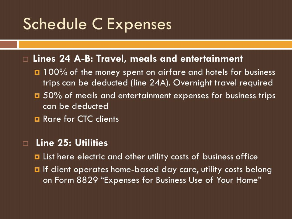 Schedule C Expenses  Lines 24 A-B: Travel, meals and entertainment  100% of the money spent on airfare and hotels for business trips can be deducted