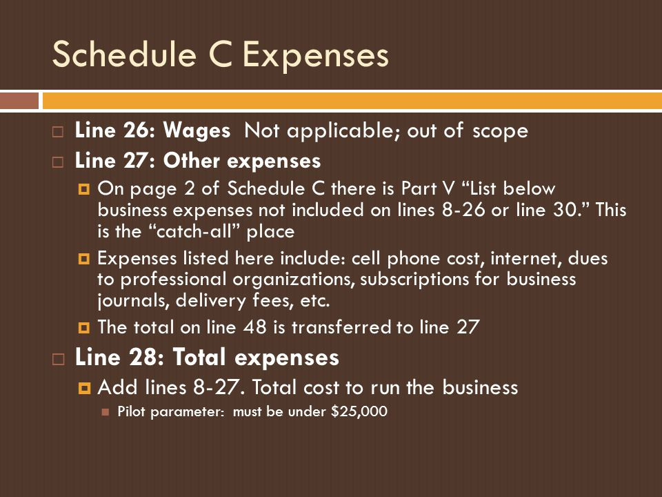 """Schedule C Expenses  Line 26: Wages Not applicable; out of scope  Line 27: Other expenses  On page 2 of Schedule C there is Part V """"List below busi"""