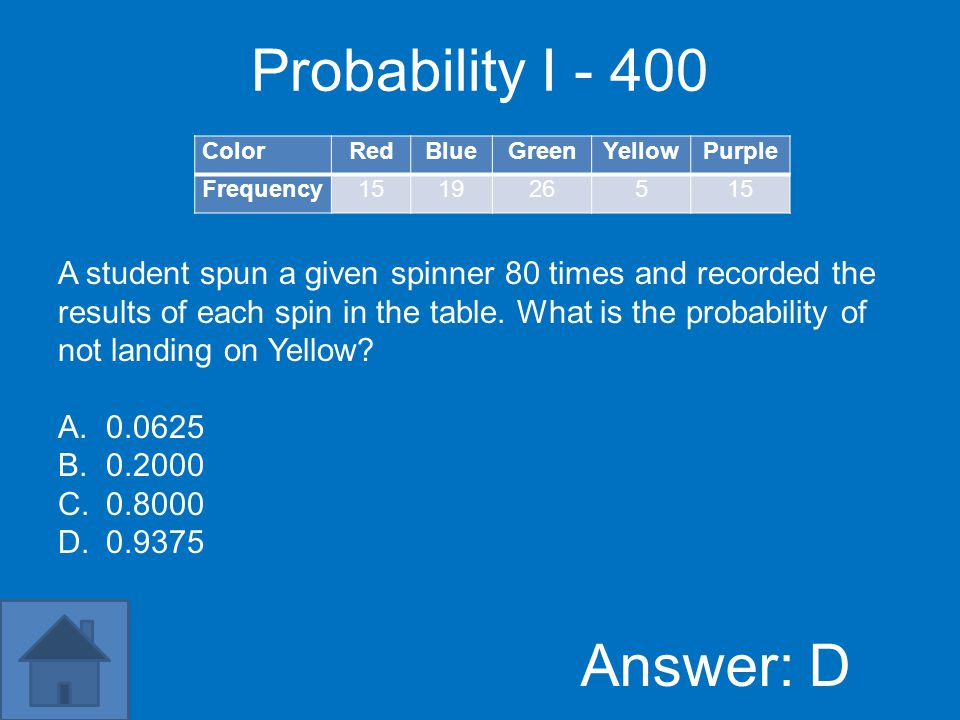 Probability I – 200 Answer: B ColorRedBlueGreenYellowPurple Frequency151926515 A student spun a given spinner 80 times and recorded the results of each spin in the table.