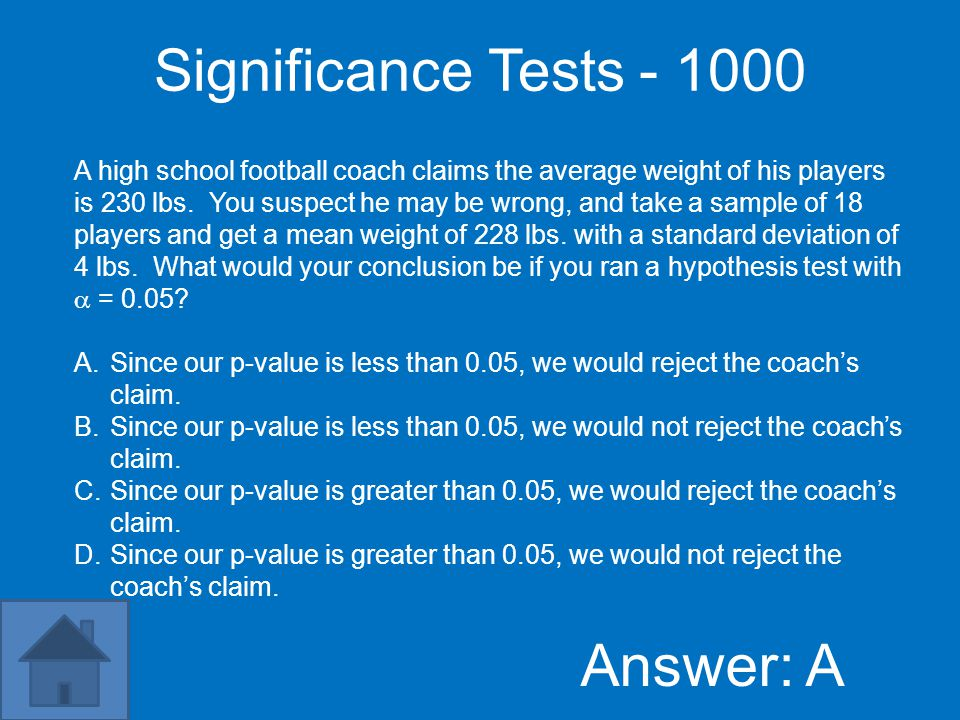 Significance Tests - 800 Answer: D If a significance test gives P-value 0.005, A.