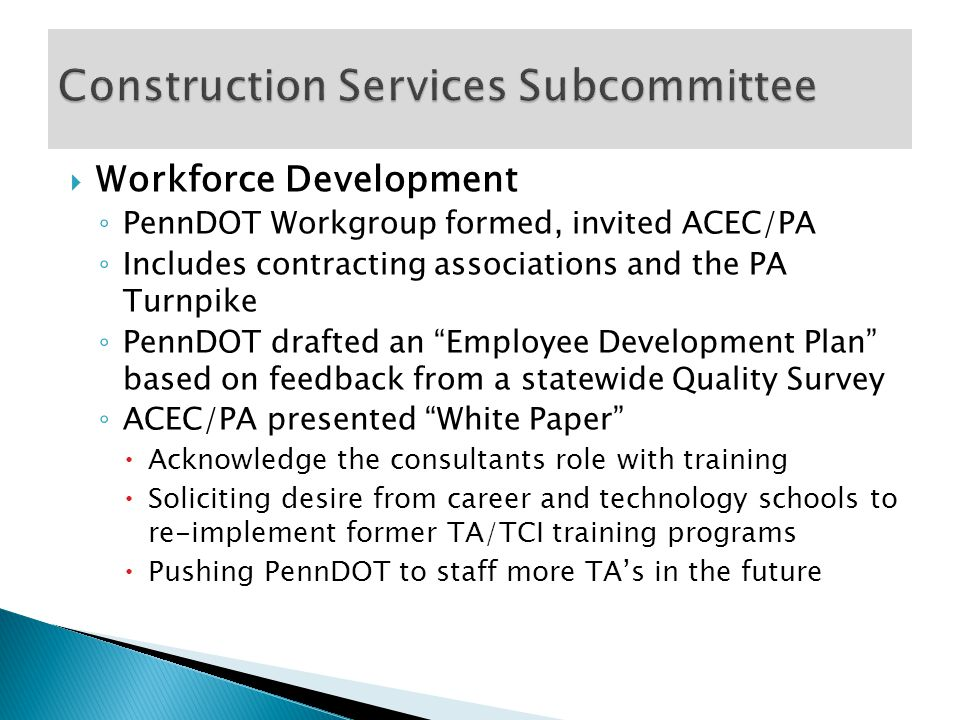  Meeting held October 30, 2014  Agenda Items ◦ Program Priorities ◦ New Organization Chart ◦ Status of Design Guidelines ◦ Indemnification Clause ◦ DBE Professional Liability Insurance Coverage ◦ Plans for SEPTA Self-Performing Design or Construction Work