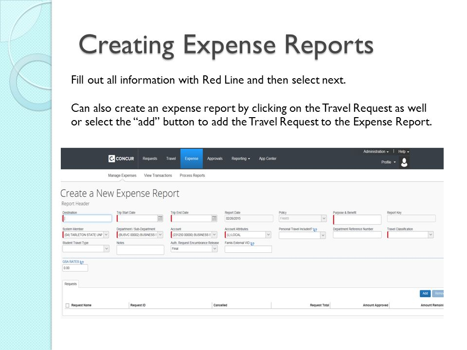 Creating Expense Reports Fill out all information with Red Line and then select next.