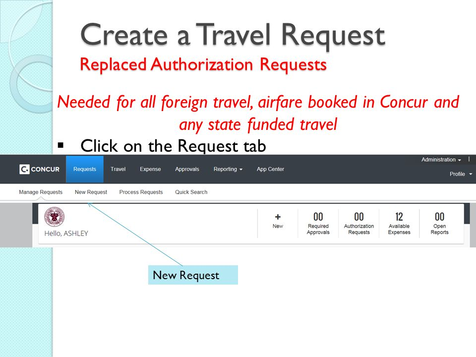Create a Travel Request Replaced Authorization Requests Needed for all foreign travel, airfare booked in Concur and any state funded travel  Click on the Request tab New Request