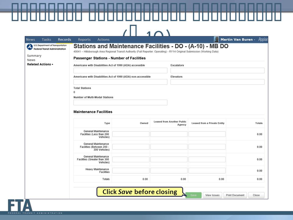 Stations Maintenance Facilities ( A -10) Click Save before closing