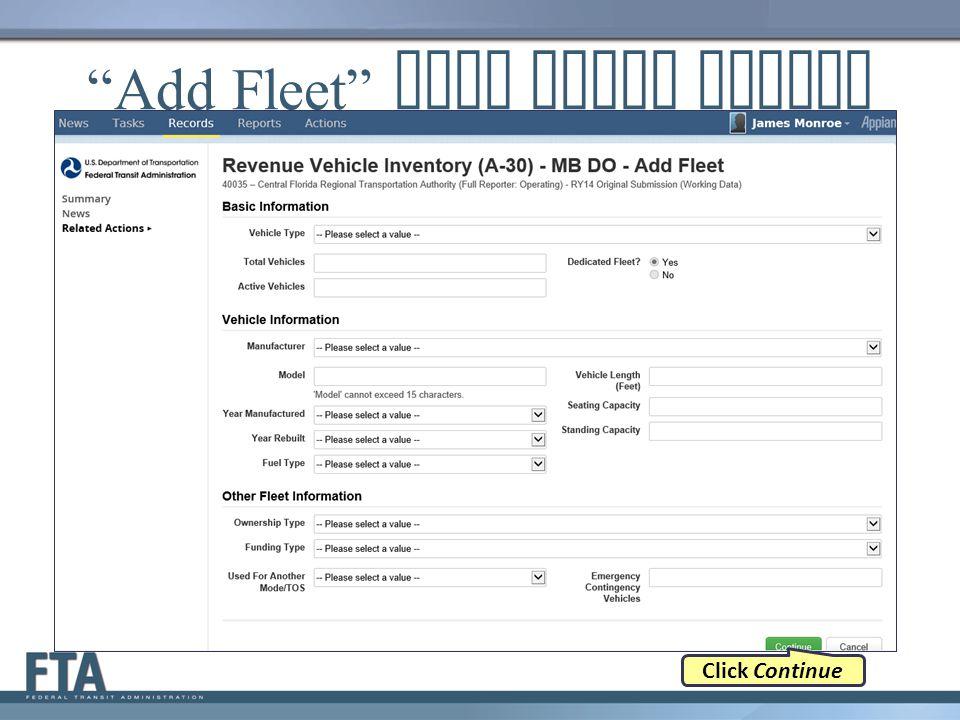 Add Fleet Data Entry Screen Click Continue
