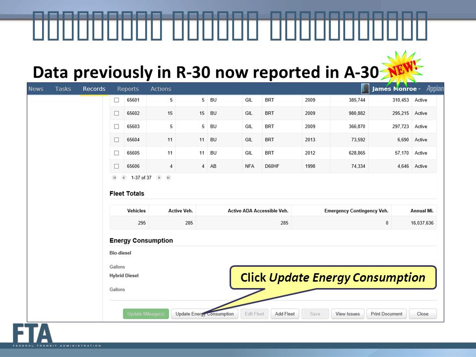 Click Update Energy Consumption Reporting Energy Consumption Data previously in R-30 now reported in A-30