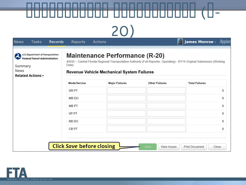 Maintenance Performance ( R - 20) Click Save before closing