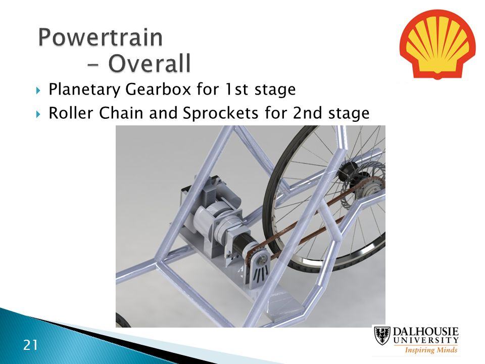  Planetary Gearbox for 1st stage  Roller Chain and Sprockets for 2nd stage 21