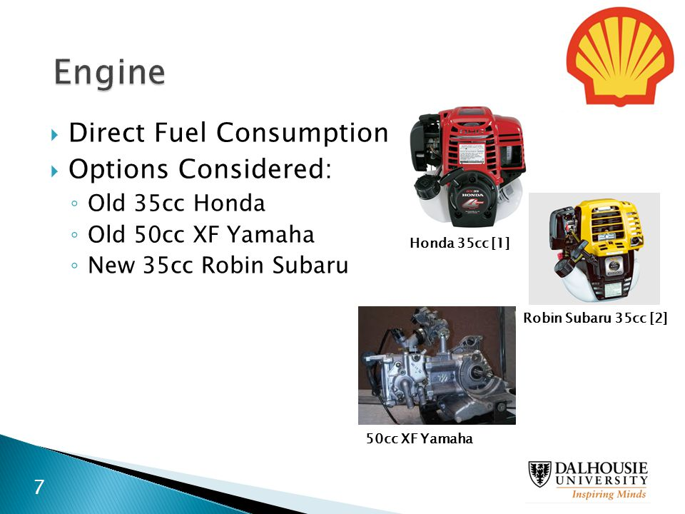  Direct Fuel Consumption  Options Considered: ◦ Old 35cc Honda ◦ Old 50cc XF Yamaha ◦ New 35cc Robin Subaru Honda 35cc [1] Robin Subaru 35cc [2] 50c