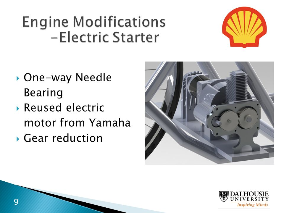  One-way Needle Bearing  Reused electric motor from Yamaha  Gear reduction 9