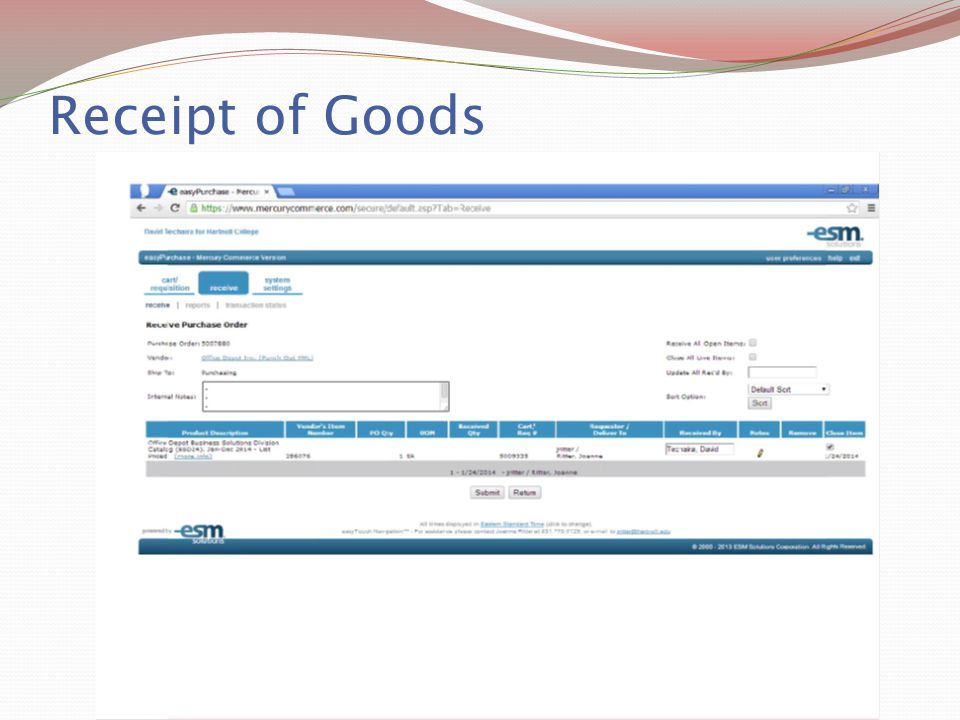 Receipt of Goods