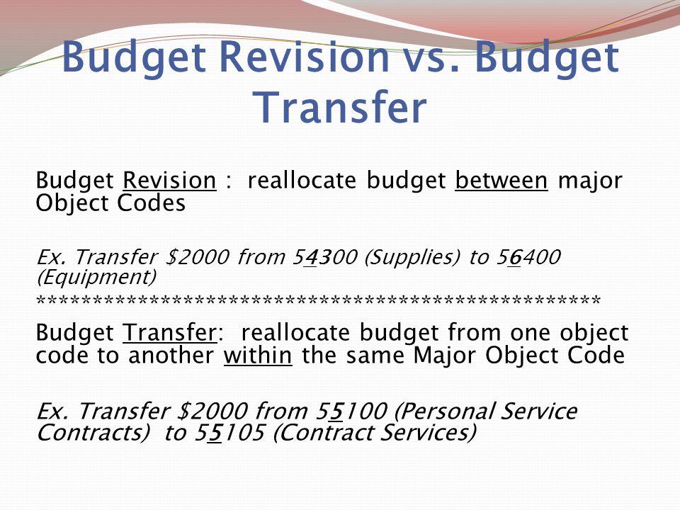 Budget Revision vs.