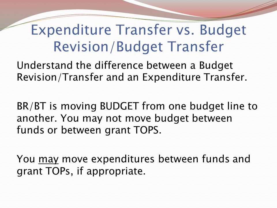 Expenditure Transfer vs.