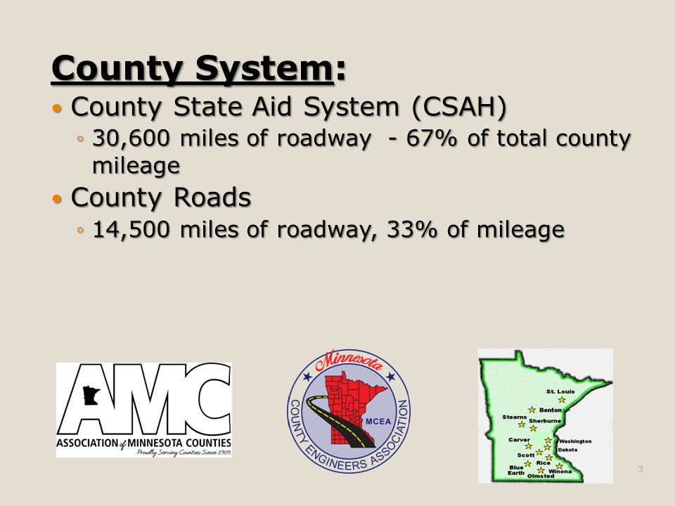 County System: County State Aid System (CSAH) County State Aid System (CSAH) ◦30,600 miles of roadway - 67% of total county mileage County Roads County Roads ◦14,500 miles of roadway, 33% of mileage 3
