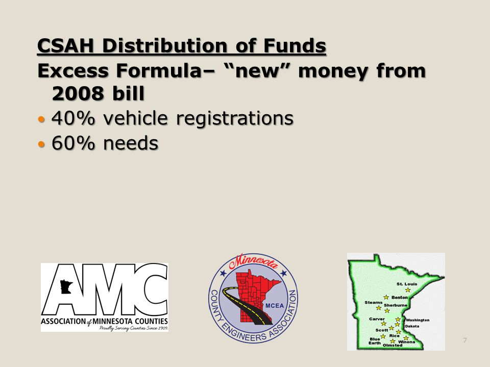 CSAH Distribution of Funds Excess Formula– new money from 2008 bill 40% vehicle registrations 40% vehicle registrations 60% needs 60% needs 7