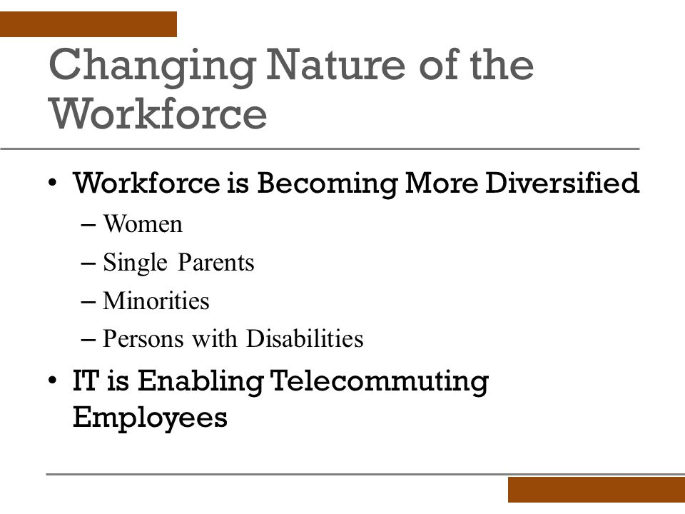 Changing Nature of the Workforce Workforce is Becoming More Diversified – Women – Single Parents – Minorities – Persons with Disabilities IT is Enabling Telecommuting Employees