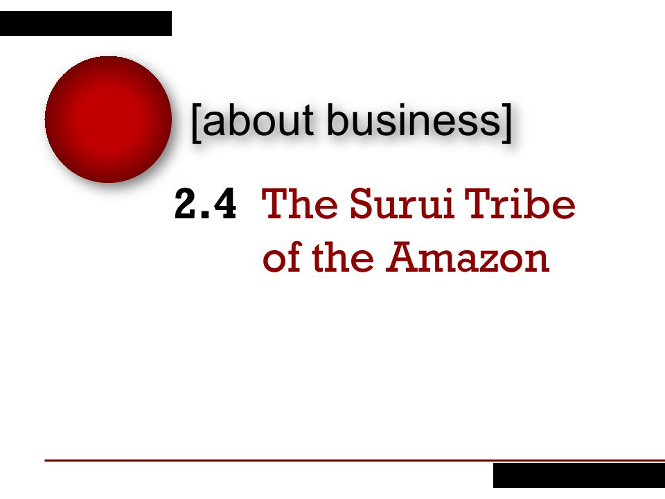 [about business] The Surui Tribe of the Amazon 2.4
