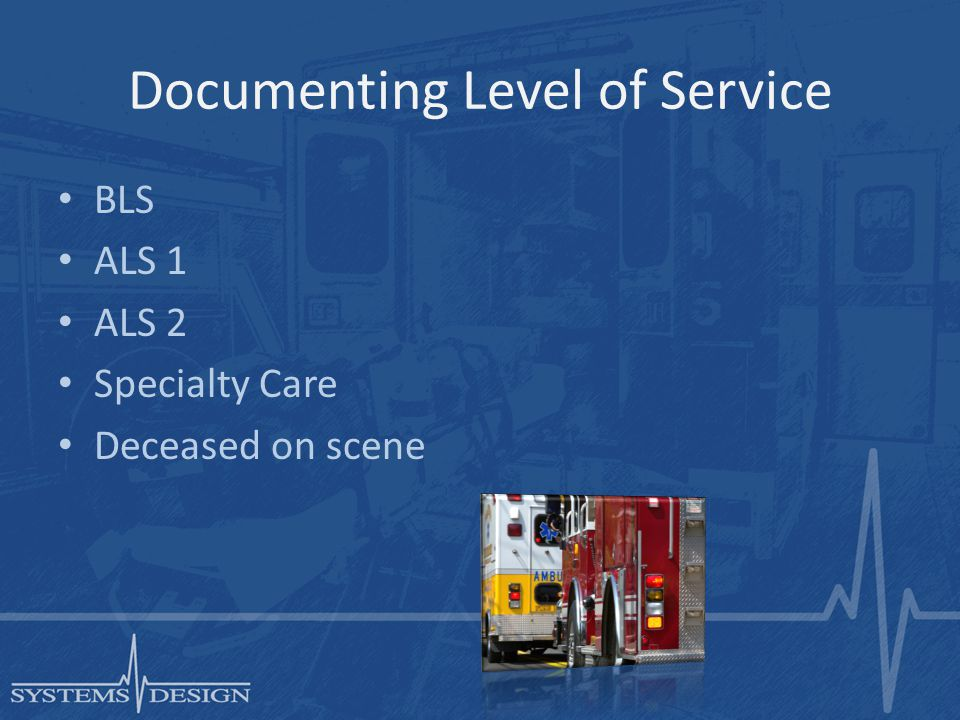 Documenting Level of Service BLS ALS 1 ALS 2 Specialty Care Deceased on scene