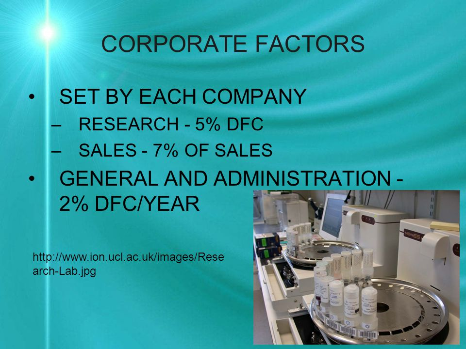 CORPORATE FACTORS SET BY EACH COMPANY –RESEARCH - 5% DFC –SALES - 7% OF SALES GENERAL AND ADMINISTRATION - 2% DFC/YEAR http://www.ion.ucl.ac.uk/images/Rese arch-Lab.jpg
