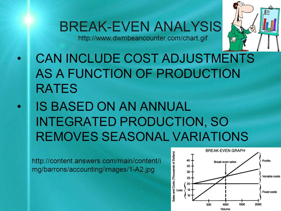 BREAK-EVEN ANALYSIS CAN INCLUDE COST ADJUSTMENTS AS A FUNCTION OF PRODUCTION RATES IS BASED ON AN ANNUAL INTEGRATED PRODUCTION, SO REMOVES SEASONAL VARIATIONS http://content.answers.com/main/content/i mg/barrons/accounting/images/1-A2.jpg http://www.dwmbeancounter.com/chart.gif