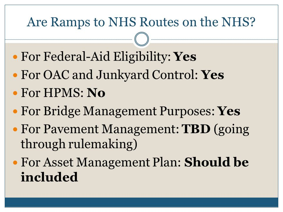 Are Ramps to NHS Routes on the NHS.