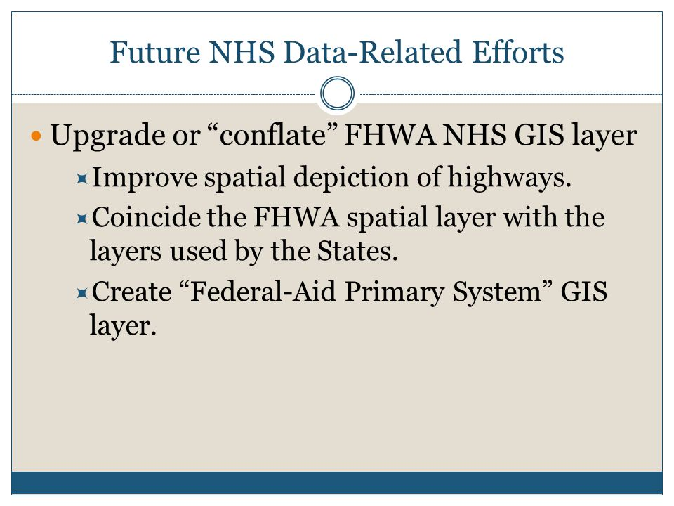 Future NHS Data-Related Efforts Upgrade or conflate FHWA NHS GIS layer  Improve spatial depiction of highways.