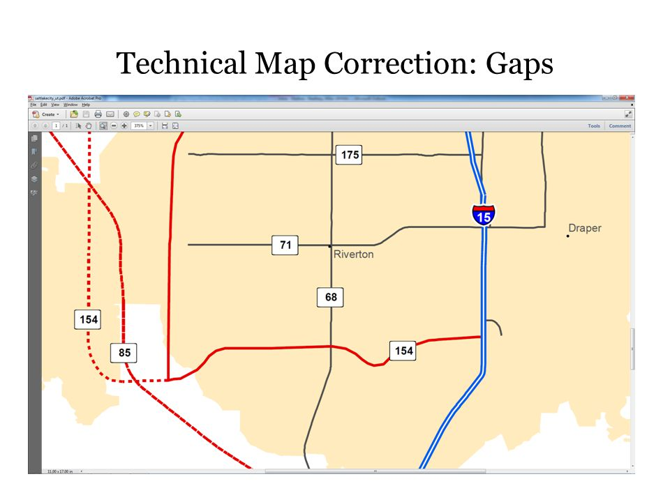 Technical Map Correction: Gaps