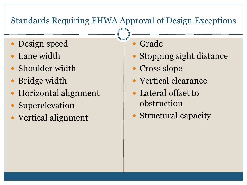 Standards Requiring FHWA Approval of Design Exceptions Design speed Lane width Shoulder width Bridge width Horizontal alignment Superelevation Vertical alignment Grade Stopping sight distance Cross slope Vertical clearance Lateral offset to obstruction Structural capacity